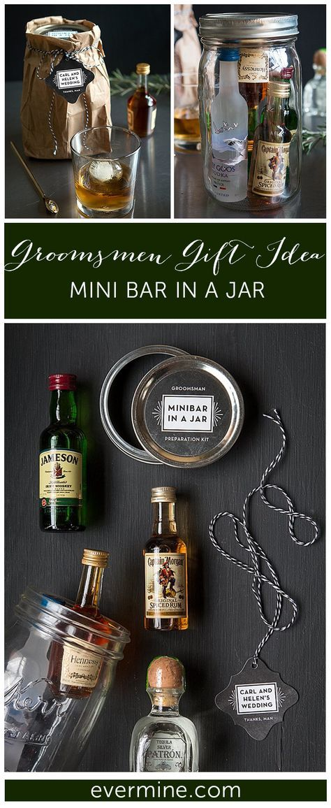 Great Groomsmen Gift Idea: Minibar in a Jar. Mason jar, mini liquors, groomsmen gift, DIY gifts, custom labels and tags.   Evermine Weddings   Evermine.com