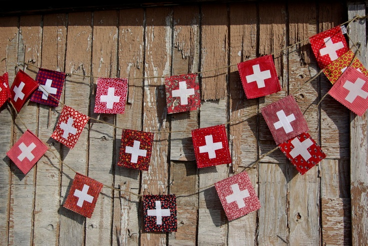 Fun and easy project for an Aug 1 celebration!    Swiss Flag garland. $15.00, via Etsy.