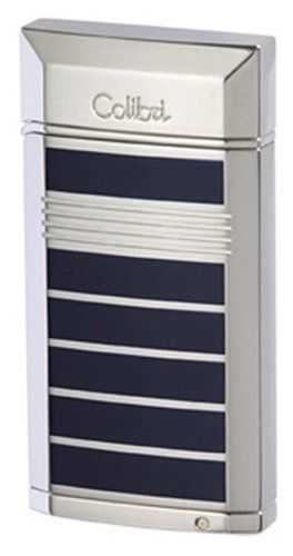 Colibri Evoke Blue Lacquer Polished Silver Stripe Torch Flame Cigar Lighter Punch QTR497004 ** Click on the image for additional details.