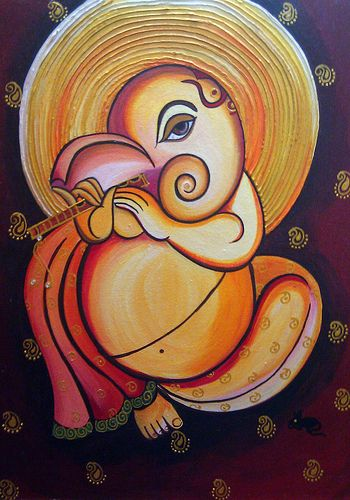 Ganpathi painting by my mom - one of my favorites