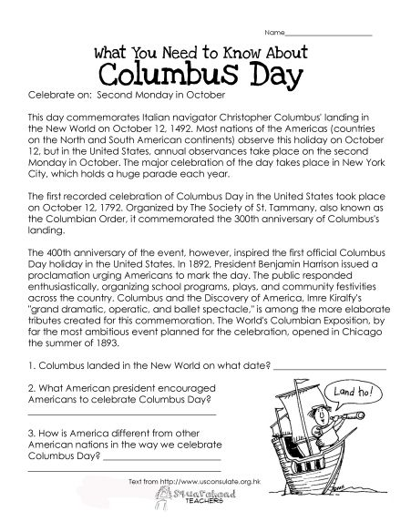 Columbus day worksheet for kids (with some comprehension questions at the end). FREE!