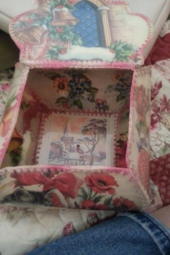 Vintage upcycling. Beautiful cherry pink and red rose christmas card box