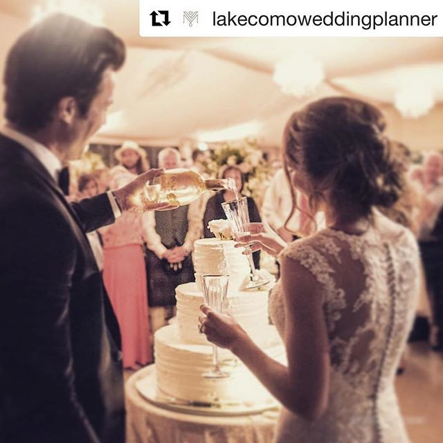#Repost @lakecomoweddingplanner with @get_repost  Champagne celebrations in front of their family and friends on Lake Como. #lakecomowedding by My Lake Como Wedding