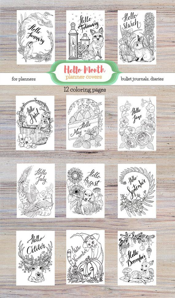 Printable Month Coloring Pages For Bullet Journal Planner Diary Printable Hello Month Covers Coloring Pages Coloring Pages Bullet Journal Planner