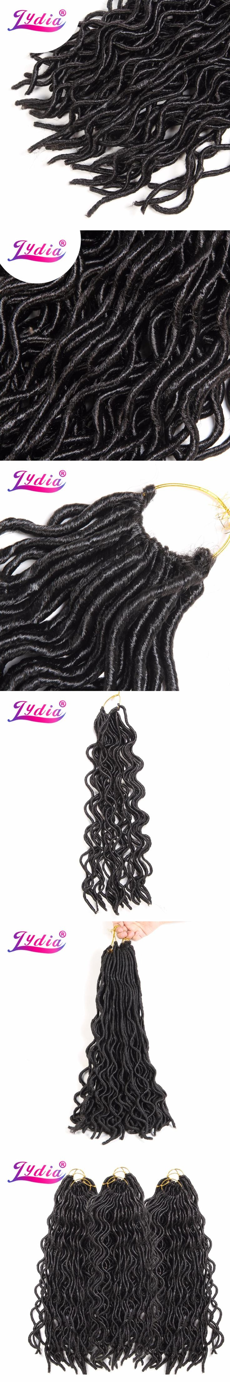 Lydia 20 Inch Faux Locs Crochet Hair Bulk 24strands/pack Curly Braiding Hair  Pure Color Synthetic Hair Extensions