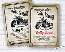 Motorcycle baby shower Invitation , baby boy, it's a boy invitation, baby boy shower, OR birthday invitation vintage bike- card 667