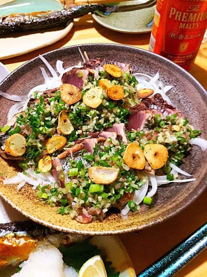 ほっけまん's dish photo かつおのスパイスたたき | http://snapdish.co #SnapDish #レシピ #晩ご飯 #お刺身/マリネ #おつまみ #魚料理