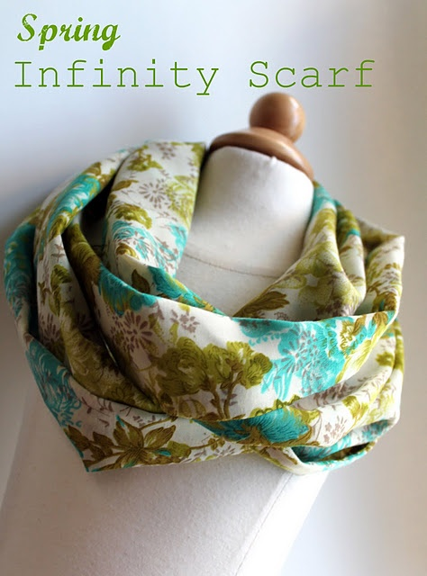 DIY Infinity Scarf: Sewing Projects, Spring Infinity, Cottages, Fabrics, Scarves, Sewing Machine, Infinity Scarf Tutorial, Infinity Scarfs Tutorials, Lightweight Spring