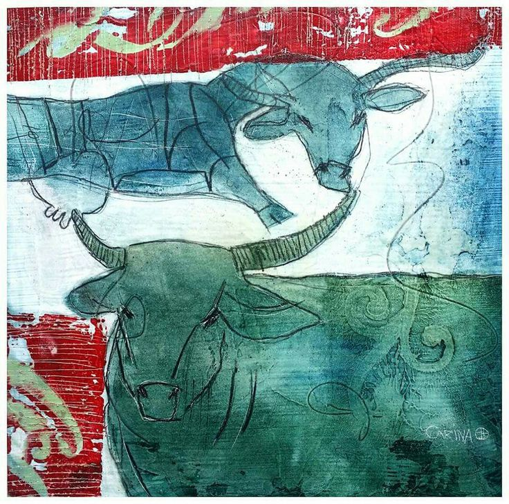 Bulls with Coka Cola signage - oil and spray paint on board