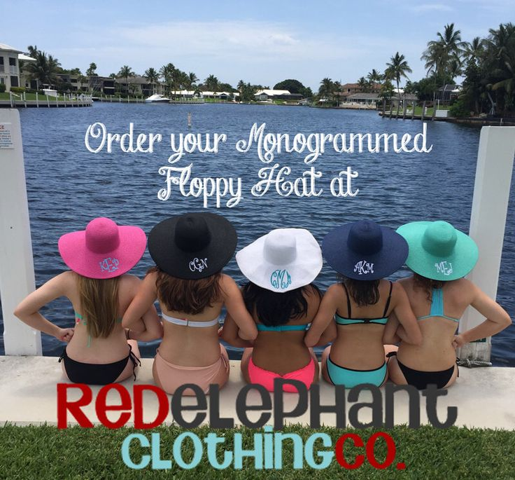 Monogram Floppy Hat, Floppy Beach Hat, Monogrammed Derby Hat, Floppy Sun Hat, Womens Floppy Hat, Personalized by RedElephantClothing on Etsy https://www.etsy.com/listing/178053697/monogram-floppy-hat-floppy-beach-hat