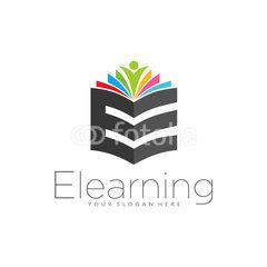 E learning simple elegant logo icon