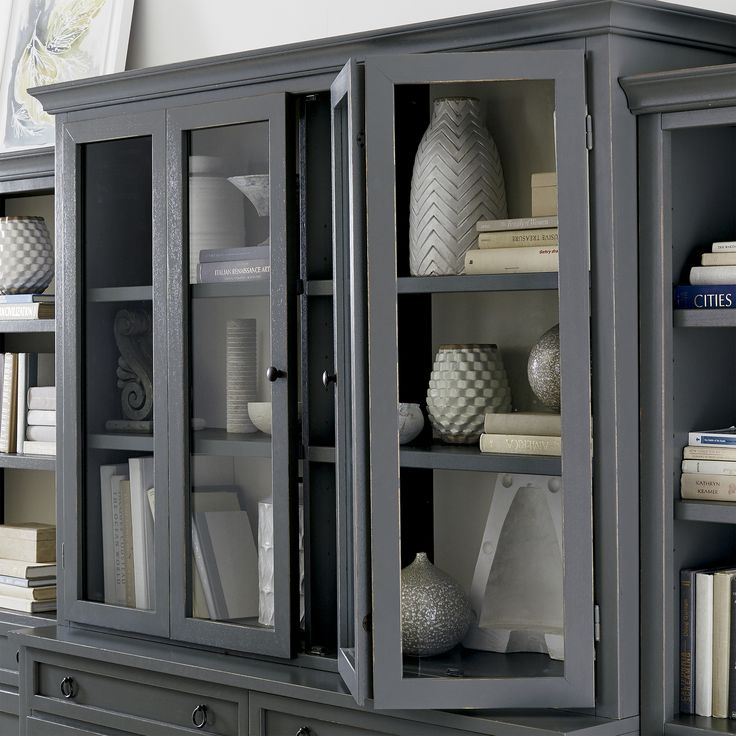 Cameo 2 piece grey glass door wall unit warm grey and family rooms for Glass wall units for living room