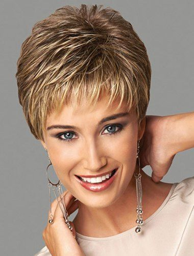 Elegant Short Straight Side Bang Fluffy Stylish Synthetic Blonde Mixed Brown Capless Wig For Women