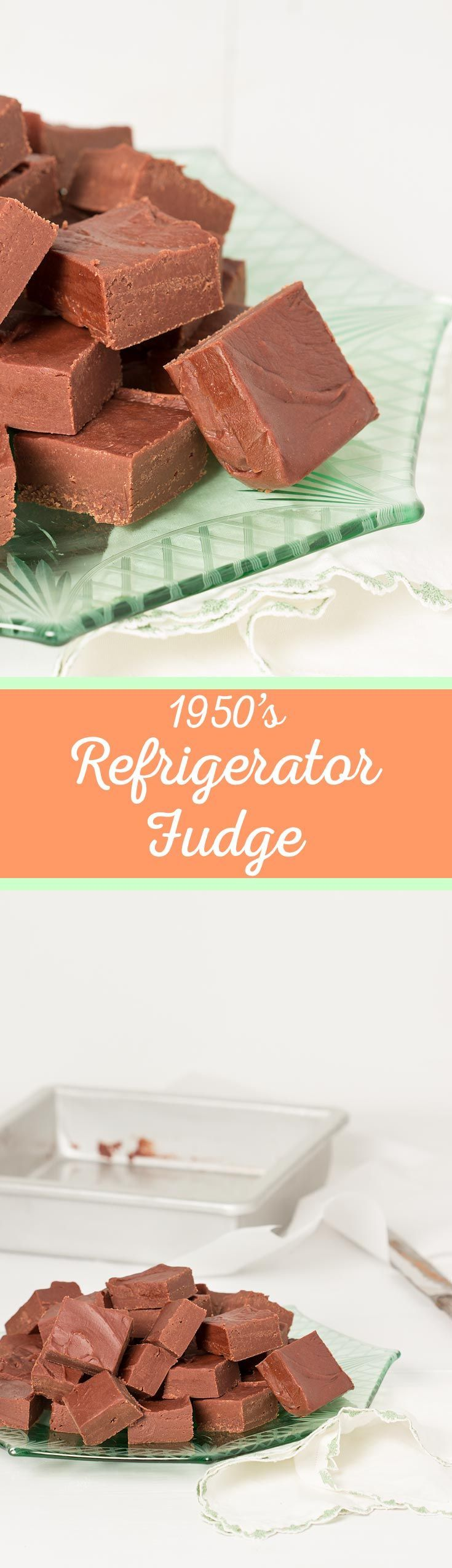 1950's Simple Rich Refrigerator Fudge - Soft, creamy and chocolatey, this delightful confection will surely bring a smile to your face from the first taste. #vintagerecipe
