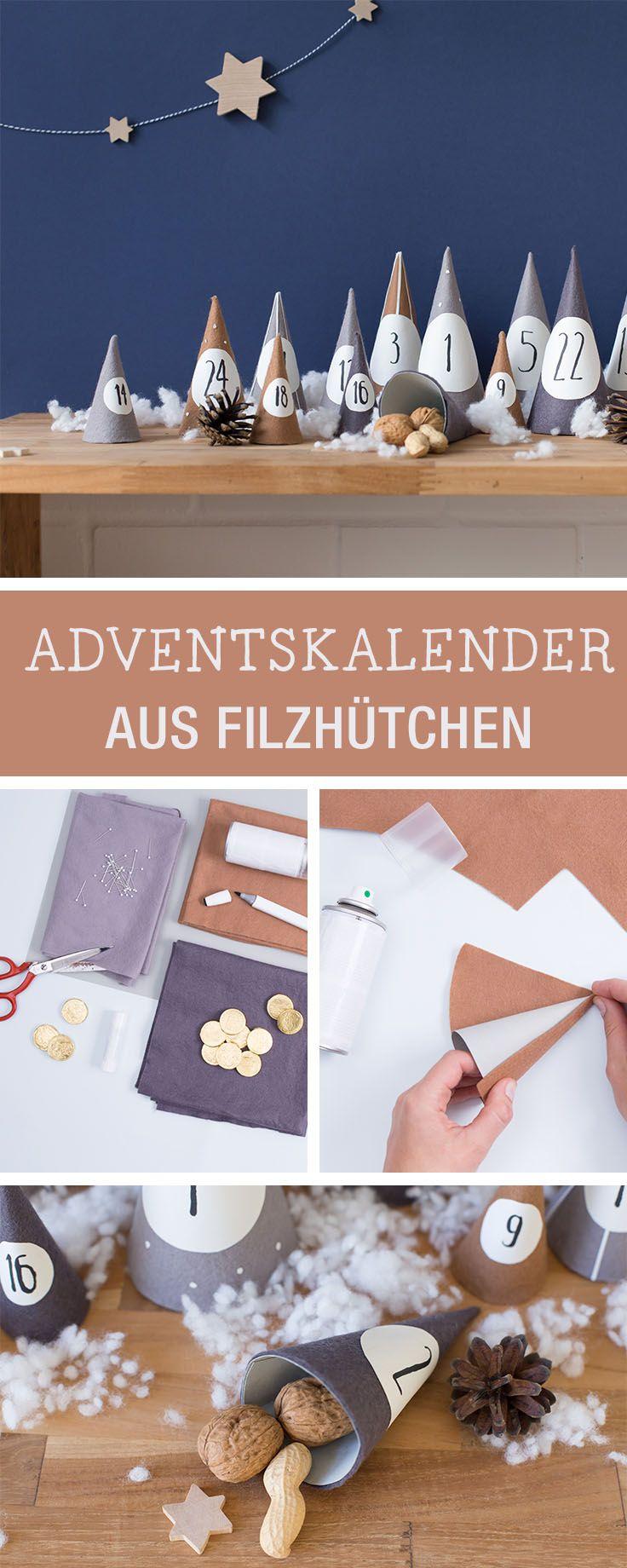 Adventskalender aus Filzhüten selbermachen / christmas diy: how to craft an advents calendar with felt via DaWanda.com