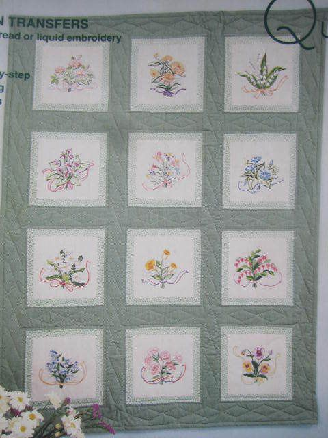 See Sally Sew-Patterns For Less - Floral Bouquet Quilt Embroidery Thread or Liquid Iron On Transfers American School of Needlework Pattern Book Q-204 , $8.00 (http://stores.seesallysew.com/floral-bouquet-quilt-embroidery-thread-or-liquid-iron-on-transfers-american-school-of-needlework-pattern-book-q-204/)