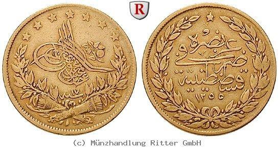 RITTER Osmanisches Reich, Abdul Medschid, 100 Piaster 1854 (AH 1255) #coins