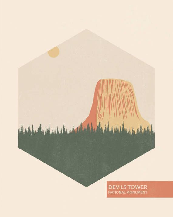 National Park Poster Wall Hanging Devils Tower National