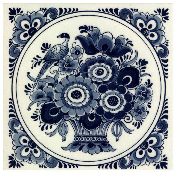 TEGEL DELFTS BLAUW BLOEMEN VOGEL 15 x 15 CM - Hollandsouvenirshop - Hollandse Souvenirs