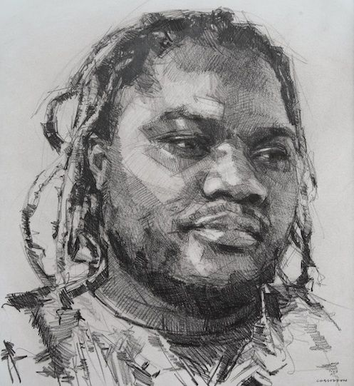 Wilson Magwere by Colin Davidson (crayon on paper, 2012)