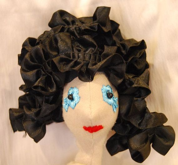 Long black hair for the doll by Rongylady on Etsy