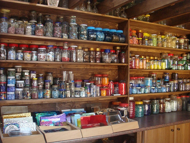 Mosaic Studio jars of colour by lubsy1uk, via Flickr