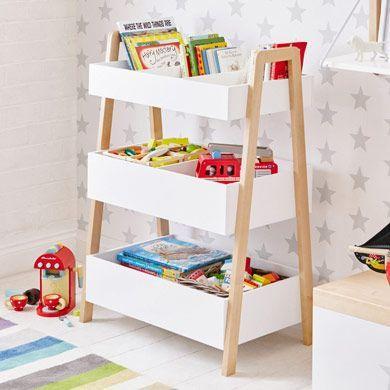 Bonito mueble para organizar juguetes o materiales de arte. Minimalista