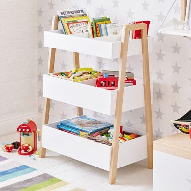 A stylish yet functional way to organise and store toys and books in a child's bedroom or playspace