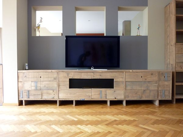 Custom furniture made out of used scaffolding wood by Eli Capello, via Behance
