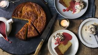 Spiced orange cake with plum sauce and Christmas pudding ice cream