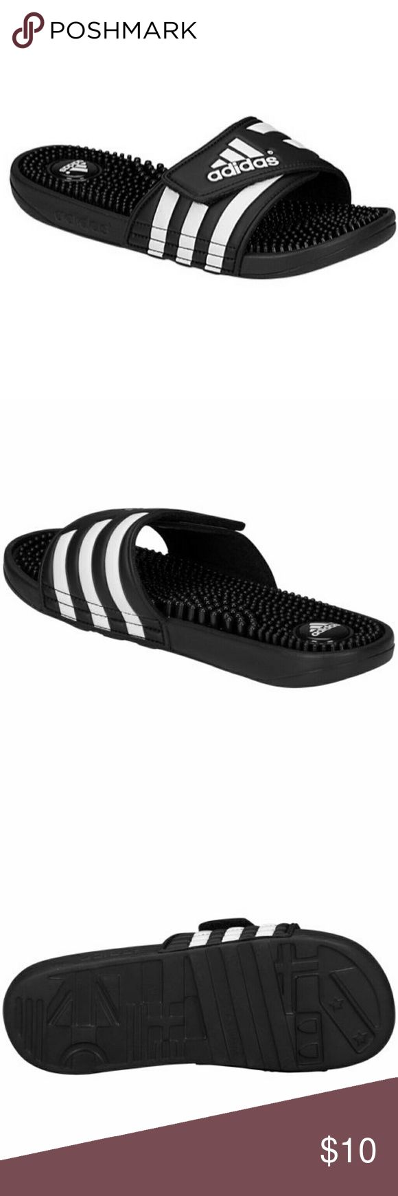 Adidas Flip Flops Men's 11 Black and White Adidas Flip Flops, Excellent Condition. Men's Size 11. Adidas Shoes Sandals & Flip-Flops