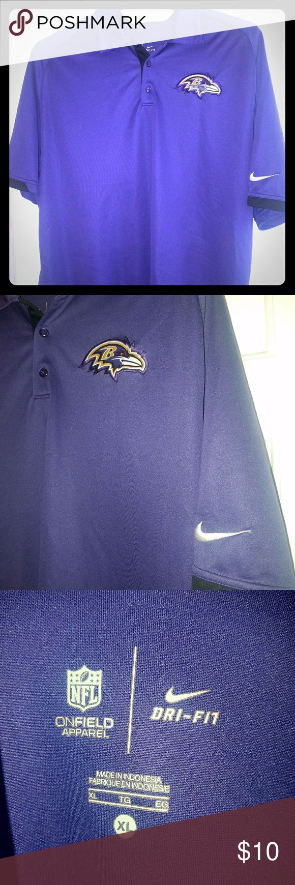 NIKE DRI-FIT 🏈Baltimore Ravens🏈 Polo MEN's barely worn nylon/dri-fit Nike polo shirt. Unfortunately, from storage has 2 snags in the fabric. Will still wear well and look great! Nike Shirts Polos