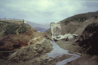 Santa Paula, CA - This colorized photo was taken the day after St. Francis Dam failed.
