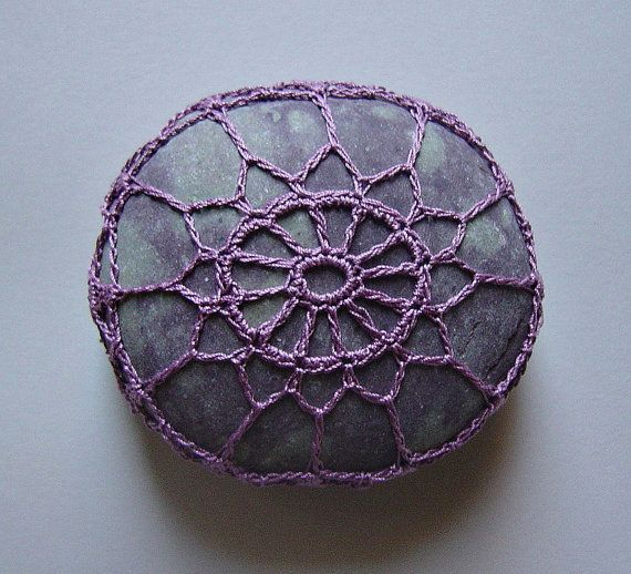 Beautiful!  Art, Mixed Media, Crochet Lace Stone, Original, Handmade, Table Decorations, Art Object, Home Decor, Soft Purple Thread, Gray Spotted Stone on Etsy,