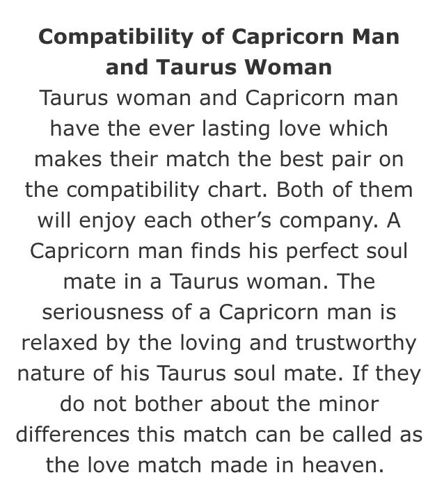 Love match taurus man and capricorn woman