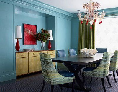 Best Dining Room Color Ideas With Blue Katie Ridder Turquoise Walls Murano White Red Glass Chandelier Missoni Type Fabric Uphostered Chairs