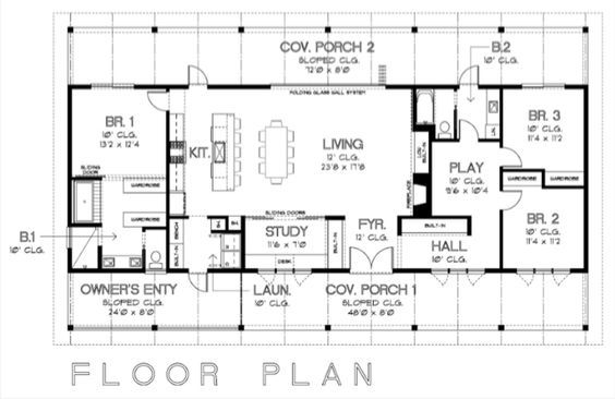 ranch floor plan. don't love single story plans but if I had to this one has an interesting layout. I like the open-ness of the main areas but tucked away areas too.:)