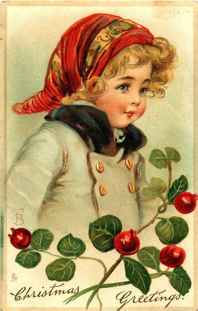 Зимние и рождественские винтажные открытки