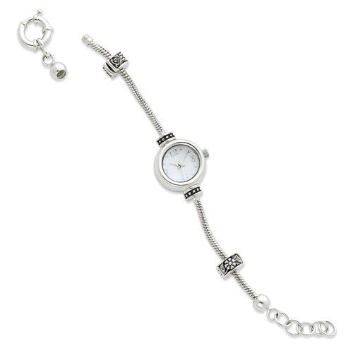 Sterling Silver Round Face Reflections Watch Starter Long Bracelet Length L Inch 30 Day Money Back Guarantee. Free Gift Box. 100% Satisfaction Guarantee. Questions? Call 1.800.691.8157. Sterling silver.  #Reflection_By_SimStars #Jewelry