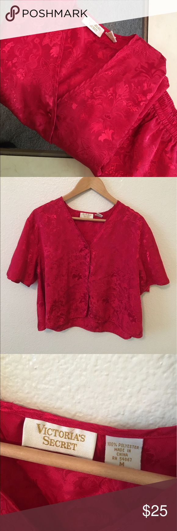 Vintage VS Red Sleepwear Set Size M vintage VS top and bottom sleepwear set. Shorts are stretchy so could also fit someone who's a S/M as well. In excellent condition. Items are stored in a smoke and pet free environment. I ship daily excluding Sunday's and holidays. Open to offers! Bundles discounted. Victoria's Secret Intimates & Sleepwear Pajamas