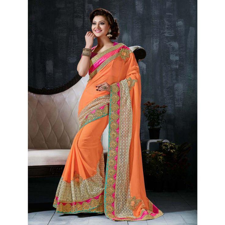 Urvashi Rautela Orange Georgette #Saree With Blouse- $125.22