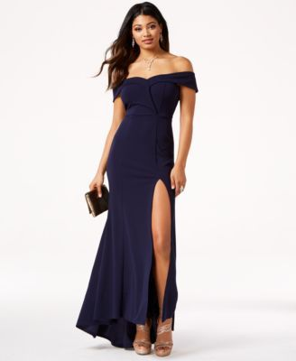 4a2ee3dd16044 Speechless Juniors  Off-The-Shoulder Scuba Crepe Gown