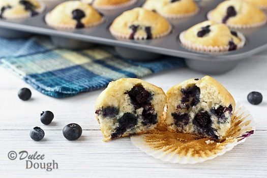 blueberry sour cream muffins. just made some using peaches instead of ...
