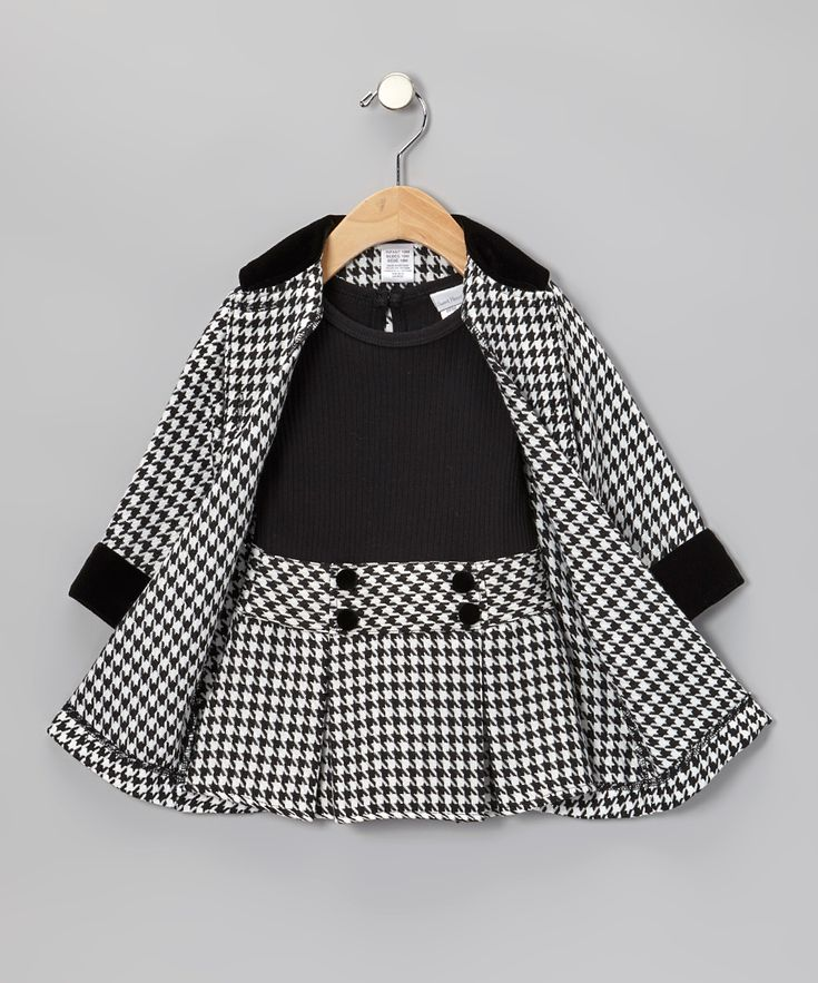 Black Houndstooth Dress & Coat - Toddler & Girls | Daily deals for moms, babies and kids