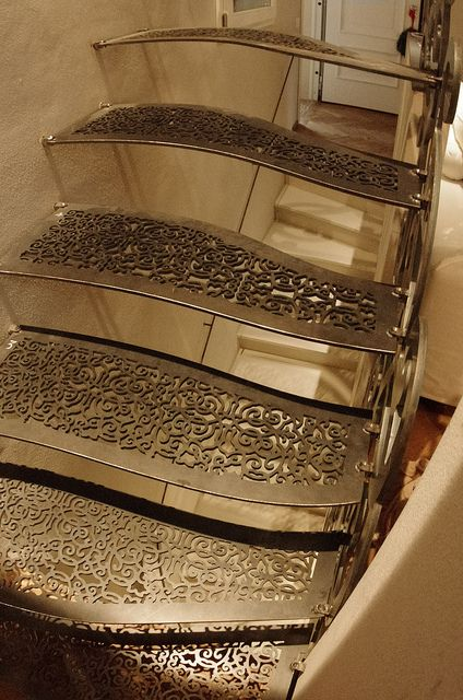 Scala_ Stair designed by LauroGhediniStudio_ made ​​with metal parts derived from laser cutting / water cutting /with solid portions of milling / turning _ the steps are made of steel having a great modulus of elasticity _ Painted transparent ​​with high strength by expert craftsman applicator, via Flickr
