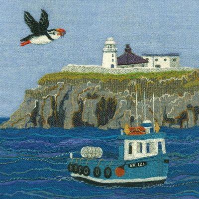 """""""Inner Farne"""" - Harris Tweed needle felted paintings, giclee prints & greetings cards by Jane Jackson. www.brightseedtextiles.com"""