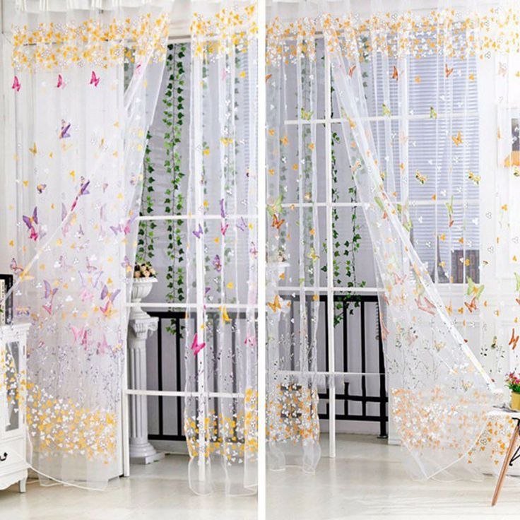 Girl Curtains Window 3D Panel Room Divider For Bedroom Decoration Butterfly
