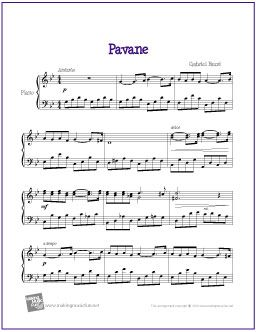 Pavane (Fauré) | Free Sheet Music for Piano - http://makingmusicfun.net/htm/f_printit_free_printable_sheet_music/pavane-piano.htm