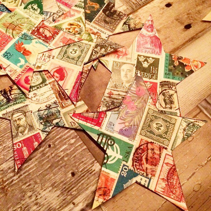 kerstkaarten maken met oude postzegels van Sierou