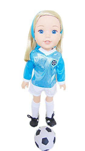 My Brittanys Cyan Blue and White Soccer Outfit For American Girl Dolls Wellie Wishers Includes Shoes and Socks >>> To view further for this item, visit the image link.Note:It is affiliate link to Amazon.